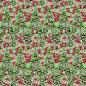 Fractured Kaleidoscope in  Olive Green and Red