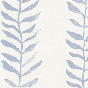 Botanical Block Print, Mineral Blue on Cream (xxl scale)   Leaf pattern fabric from original block print, natural decor, plant fabric, soft blue, off white and blue.
