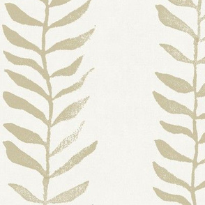 Botanical Block Print, Bronze Gold on Cream (xxl scale)   Leaf pattern fabric from original block print, neutral decor, plant fabric, tan fabric, off white and taupe.