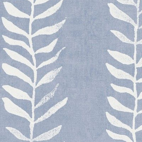 Botanical Block Print, Cream on Mineral Blue (xxl scale)   Leaf pattern fabric from original block print, natural decor, plant fabric, soft blue, off white and blue.