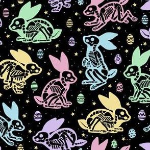Easter Bunny Skeletons on Black