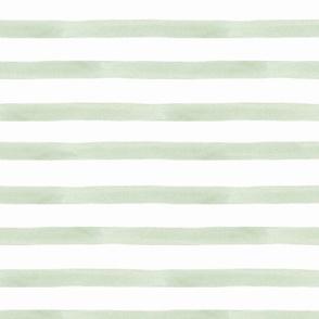 Green Watercolor Stripes Small Scale