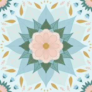 Mandala flower in pink, blue green, gold