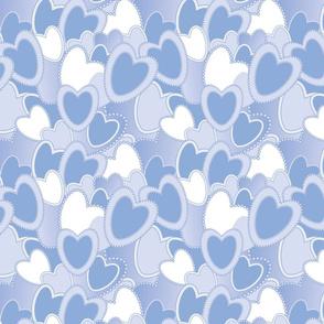 Blue on Blue Valentines Hearts Pattern