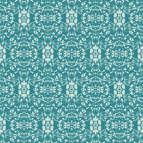 Aqua & White Faux Embossed Damask