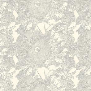 Hibiscus with Susans Grey on Cream