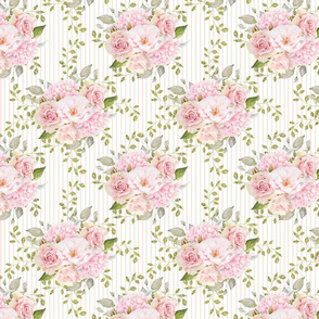"""8"""" Pink Roses and Peonies Striped Pattern"""