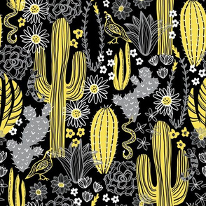 Sonoran Cactus (Yellow and Gray)