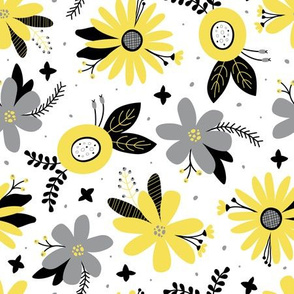 Mellow Floral (Yellow and Gray)