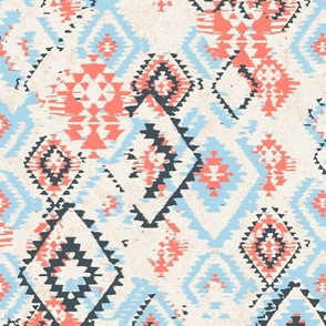 small ikat Aztec Diamonds - coral and sky blue
