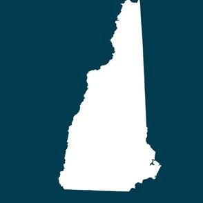 "New Hampshire silhouette,  14x18"" blocks,  white on navy"