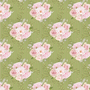Pink Roses and Peonies Striped Pattern on Green