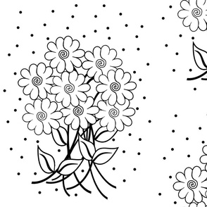 Continuous Lines Black on White Bouquets (large)