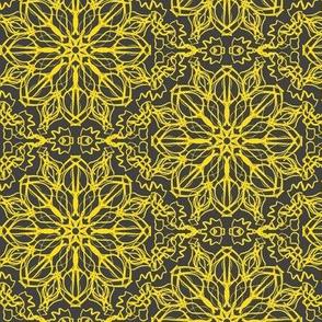 Fantasy Flower Lace of Dandelion Yellow on Shadow Grey