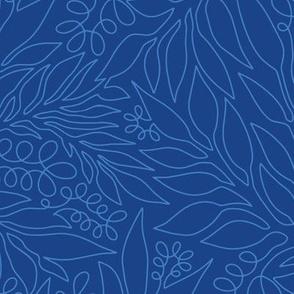 Contour Line Botanicals Blue