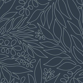 Contour Line Botanicals Charcoal Gray