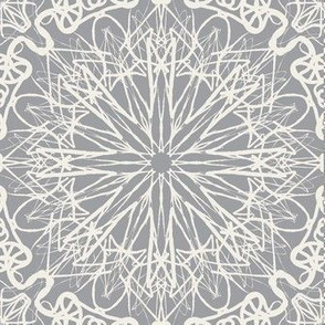 Starry Net Lace Doilies of Cool Mist on Mystic Grey - Large Scale
