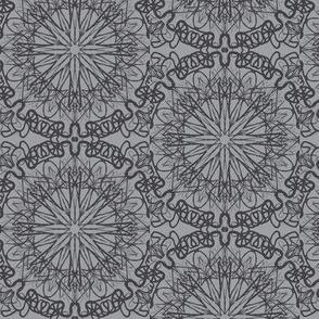 Starry Net Lace Doilies of Shadow Grey on Mystic Grey - Medium Scale