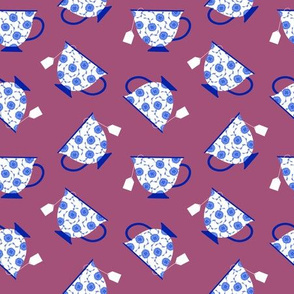 Porcelain Tea Cups on Purple