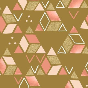 Playful Triangles Gold and Pink