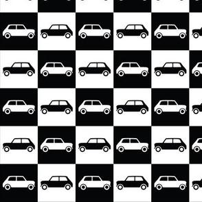 Mini Cooper Checkerboard - Black & White