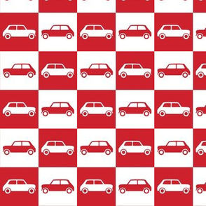 Mini Cooper Checkerboard - Red & White