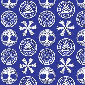Vikings white on blue 8x8