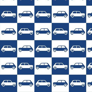 Mini Cooper Checkerboard - Blue & White
