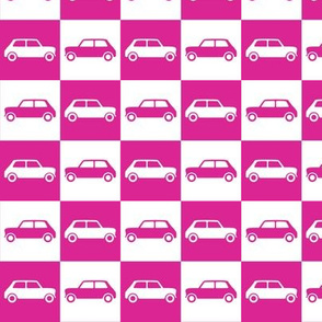 Mini Cooper Checkerboard - Bright Pink & White