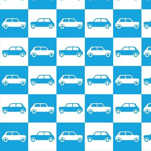 Mini Cooper Checkerboard - Bright Blue & White