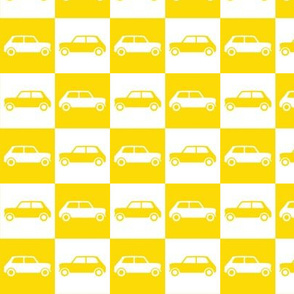 Mini Cooper Checkerboard - Yellow & White
