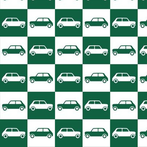 Mini Cooper Checkerboard - Green & White