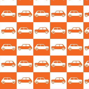 Mini Cooper Checkerboard - Orange & White