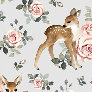 Little Deer With Vintage Roses / Light Grey Background / Large Scale