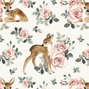 Little Deer With Vintage Roses / Off-White Background / Small Scale