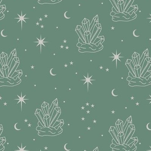 Mystic boho Universe chrystals gemstone moon phase and stars sweet dreams night pine green gray mist