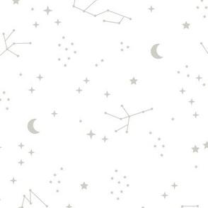 Astrophysics stars and moon boho zodiac universe science design nursery neutral white mist gray