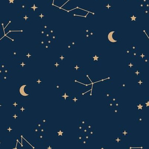 Astrophysics stars and moon boho zodiac universe science design nursery neutral navy blue golden ginger yellow