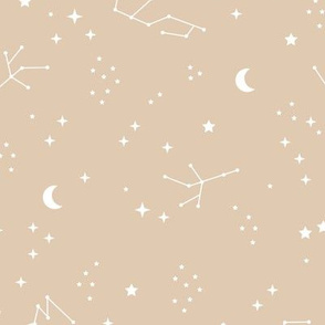 Astrophysics stars and moon boho zodiac universe science design nursery neutral soft ginger yellow white