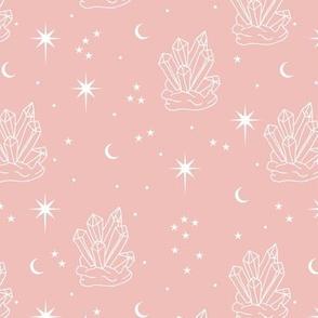 Mystic boho Universe chrystals gemstone moon phase and stars sweet dreams night soft pink girls