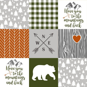 Love you to the mountains & back//Burnt Orange & Olive - Wholecloth Cheater Quilt