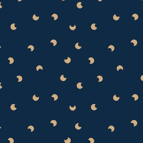 The minimalist moon sweet baby universe nursery navy blue golden ginger yellow SMALL