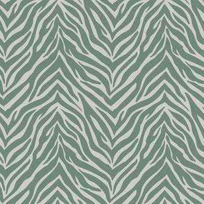The minimalist zebra stripes animal print boho jungle theme nursery pine green soft mist gray