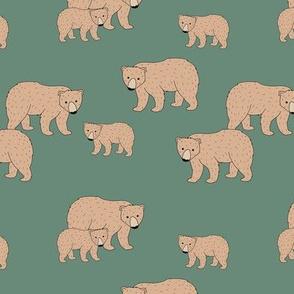 Sweet Scandinavian wild grizzly bear mountains neutral nature kids pattern pine green ginger brown