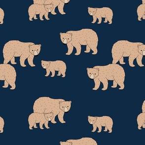 Sweet Scandinavian wild grizzly bear mountains neutral nature kids pattern navy blue night brown