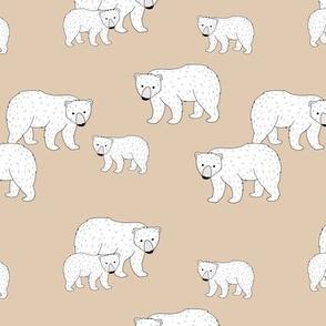 Sweet Scandinavian wild arctic white polar  bear mountains neutral nature kids pattern ginger beige white