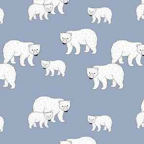 Sweet Scandinavian wild arctic white polar  bear mountains neutral nature kids pattern cool blue