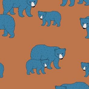 Sweet Scandinavian wild grizzly bear mountains neutral nature kids pattern blue brown LARGE