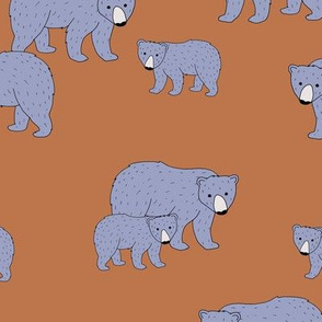 Sweet Scandinavian wild grizzly bear mountains neutral nature kids pattern lilac purple brown LARGE