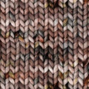 Chunky speckled stockinette stitch - warm brown